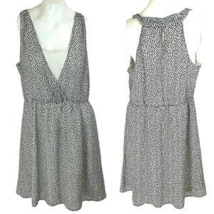 H&M Black & White Polka Dot Chiffon Skater Dress